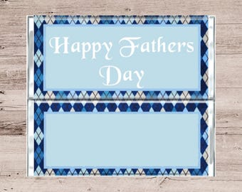 Blue Argyle Print Fathers Day Chocolate Wrapper-Blue Fathers Day Argyle Candy Bar Wrapper-Blue and White Chocolate Bar Wrapper