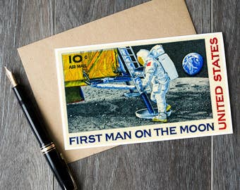 Space cards, NASA cards, astronaut cards, moon landing, neil armstrong, moon mission, moon lander, space birthday cards, NASA poster art