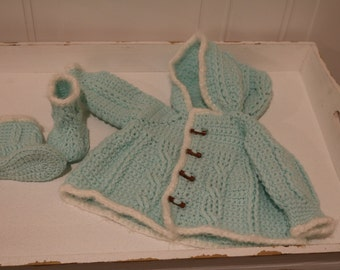 Unisex Hooded Baby Crochet Cardigan with Booties for 0 to 3 months old.