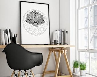 "LOTUS FLOWER MANDALA | Abstract art "" Zentangle Lotus Mandala "" | Sacred Geometry Print wall art | Illustration poster home decor print"