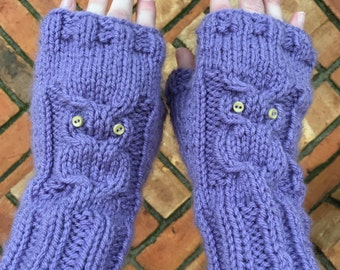 Cabled Owl Fingerless Gloves, Shown in Custom Purple