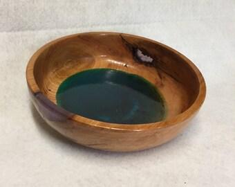 Cherry Wood Bowl with Epoxy Inlays