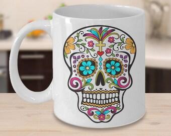 Day of the Dead Mug - Colorful Sugar Skull Mug - Mexican Folk Art - Dia De Los Muertos Coffee Cup