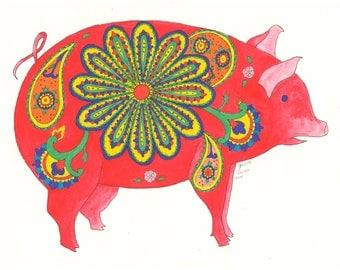 Paisley Pig Coloring Page