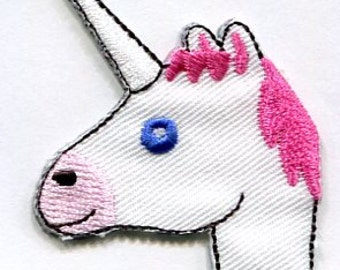 iron on and stick on emoji unicorn head