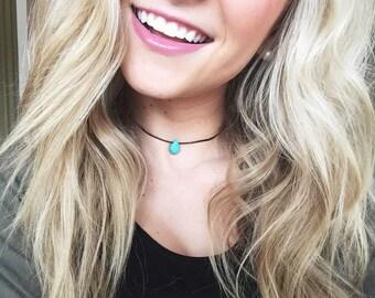 Turquoise Teardrop Choker