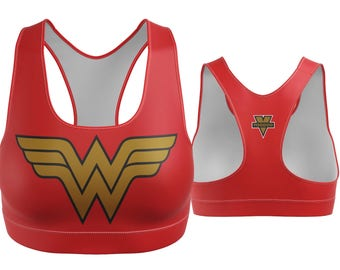 Sports Bra / Yoga Bra / Sports Bra- Wonder Woman Sports Bra (Gold Breastplate)