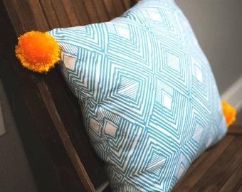Blue & Orange Geometric Pattern Pom Pom Pillow