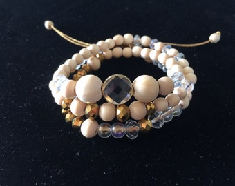 Multi-row bracelet or two-in-one necklace