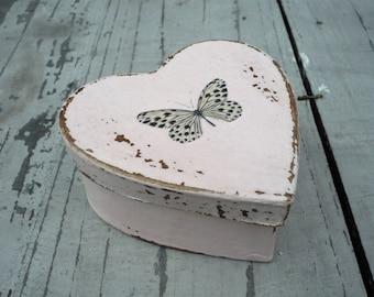 Heart shaped papier mache butterfly gift box, gift box, keepsake box