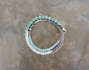 Amazonite Bracelet, Light Blue Bracelet for Women, Gemstone Wrap Bracelet, Double Wrap Bracelet, Wrap Bracelet Beaded, Boho Wrap Bracelet