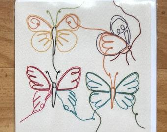 Four butterflies greeting card