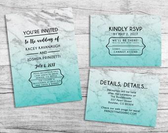 Colorful Marble Wedding Invitation