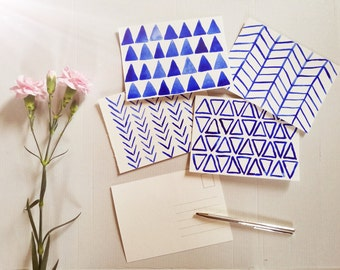 Set of 4 handpainted watercolor postcards, watercolour, blue watercolor, postcard, hand drawn, hand painted, geometric watercolor, triangles