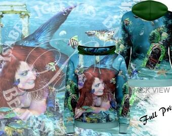 Absinthe at Sea - Womens Pullover Fullprint Hoodie - Mermaid Fantasy