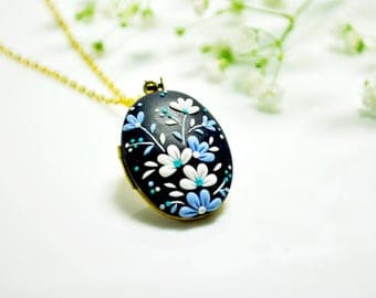 Blue and White Flower Photo Locket, Polymer Clay Necklace