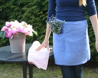 Blue linen apron, Linen apron