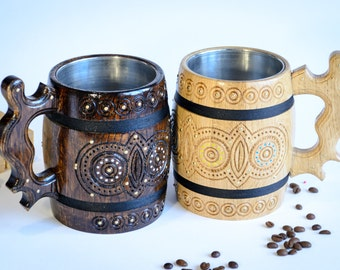 Wooden mugs - Set of Beer mugs - Wood cup - Wedding gift - Wooden Mug - Wooden beer mug - large wooden mug - wooden mug with metal inside