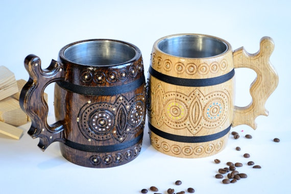 Set of Beer mugs, Wood cup, Wedding gift, Wooden Mug, Wooden beer mug ...