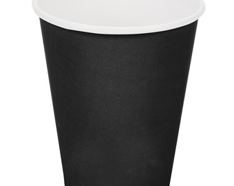 25 Ct Black Poly Paper Cups 9oz Hot/Cold, Party Supplies, Wedding Supplies, Party, Wedding, Paper Cups, Beverage Cups, Cups, Supplies