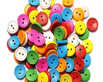 40 PCS Colorful Wood Buttons, Gift Packaging, Packaging, Gift, Gift Wrap, Scrapbooking Supplies, Scrapbook, Crafts, Crafts Supplies, Buttons