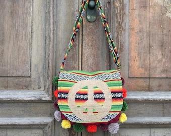 Bohemian sling bag/gypsy messenger bag/hippie sling bag/summer festival bag/boho summer bag/vegan hobo bag/gypsy soul/ethnic hobo bag