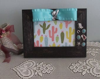 Western Themed Picture Frame with Turquoise Ribbon