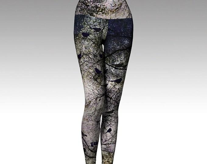 Black Birds, Trees, Woodlands Printed Leggings, Gray and Black Leggings, Women's Leggings, Yoga Pants, Yoga Pants, Leggings, Yoga Leggings
