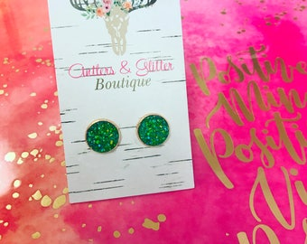 Rose Gold and Green 12mm Earrings