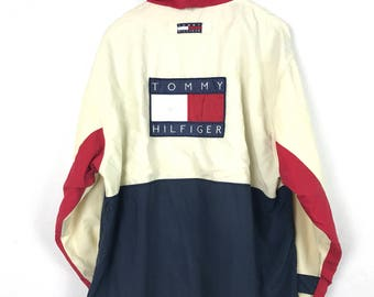 Vintage 90s TOMMY HILFIGER Big Logo Patch Spellout Multicolor Colorblock Racing Hood Hip Hop Style Windbreaker Coat Jacket Size Medium