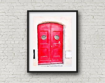 Gift Idea ~  Watercolor Art Paintings ~ Rustic Italian Door ~ Painting ~ Beautiful ~ Unique Gift ~ Holiday ~ Handmade