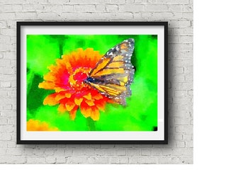 Butterfly on an Orange Gerbera Daisy ~ Watercolor ~ Instant Download ~ Butterfly Print ~ Daisy