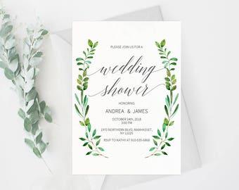 Couple Shower Invitation Template, Rustic Couple Shower Wedding Printable, Wedding Shower Template,Shower Invite,PDF Instant Download #E018