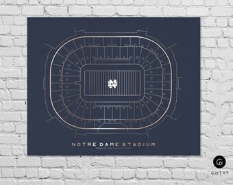 "Notre Dame Stadium Print - 8"" x 10"" - Fan Art - Fighting Irish 