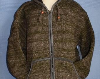 Hand knitted  Khaki and natural wool jacket