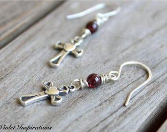Cross Earrings / Sterling Silver Cross / Garnet Earrings / Wire Wrapped Earrings / Wire Wrapped Jewelry / Sterling Silver Earrings
