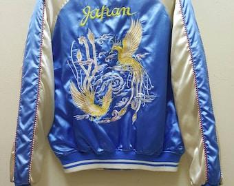 Sukajan Jacket Satin Vintage Rare Embroidered Phoenix Birds Japan Jacket Yokosuka Souvenir Jacket Bomber Jacket