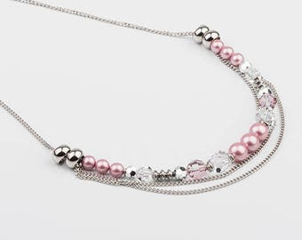 Necklace short beads and Swarovski crystals, stainless steel