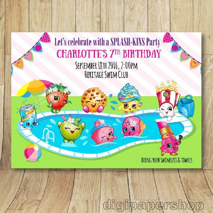 Birthday Party Charlotte Nc: Printable Shopkins Pool Party Birthday Invitation N.01