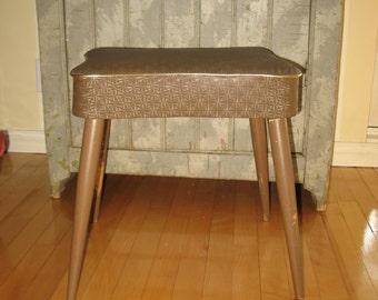 Vintage foot rest PoufTabouret, bench, leather.