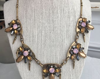 Vintage Gold and Pink Statement Necklace