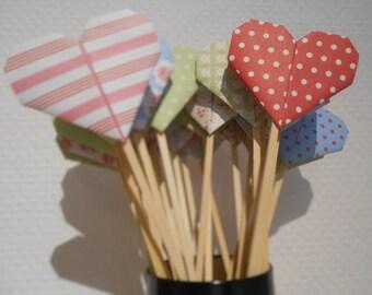 Multicolored printed heart spade