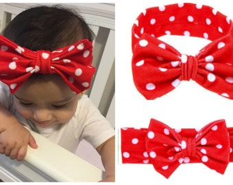 Baby Girl Bow Headband - RED with white polka dots - BLUE with white polka dots - WHITE with black triangles