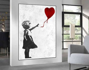 Beau Extra Large Wall Art, Banksy Red Balloon Girl, Large Abstract Painting On  Canvas,