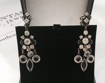 1940's Rhinestone Drop Earrings