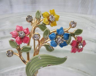 Spring Bouquet for You! Enamel and rhinestone pin by Kramer