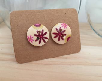 Mauve Flower Button Earrings