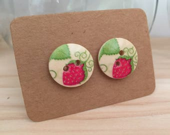 Painted Wooden Button Earrings