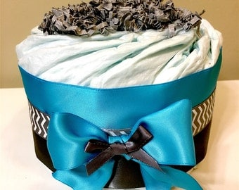 Blue and Gray mini Diaper Cake (Set of 2), Baby Shower, Centerpiece, Decorations