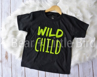 Wild Child Infant or Toddler Shirt Lime Green and Black or custom colors available - Boys or Girls